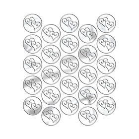 Metallic Silver Heart Seals (25 Count)