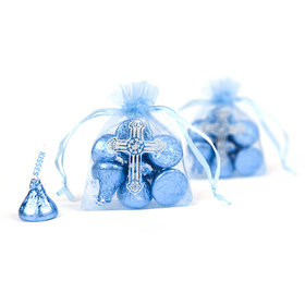 Blue Cross Organza Bag (12 Pack)