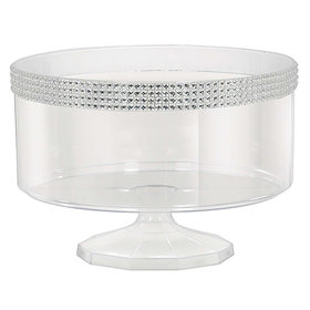 Small Plastic 40oz Trifle Container with Silver Gems