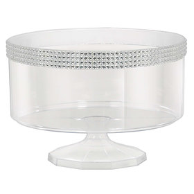 Medium Plastic 70oz Trifle Container with Silver Gems