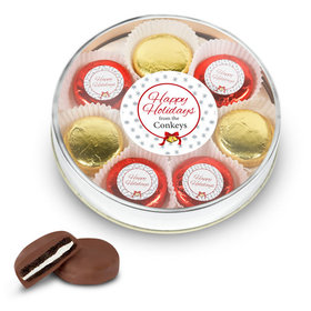 Personalized Happy Holidays Gold Large Plastic Tin with 8 Chocolate Covered Oreo Cookies