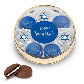 Happy Hanukkah Gold Large Plastic Tin with 8 Chocolate Covered Oreo Cookies