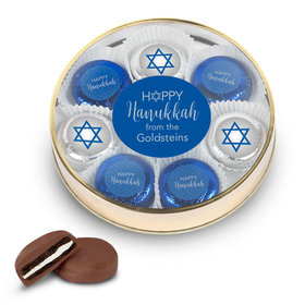 Personalized Happy Hanukkah Gold Large Plastic Tin with 8 Belgian Chocolate Covered Oreo Cookies