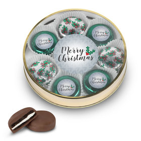 Merry Christmas Gold Large Plastic Tin with 8 Chocolate Covered Oreo Cookies