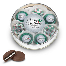Personalized Merry Christmas Gold Large Plastic Tin with 8 Chocolate Covered Oreo Cookies