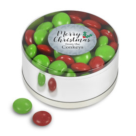 Personalized Merry Christmas Chocolate Minis Small Plastic Tin