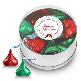 Happy Holidays Hershey's Kisses Small Plastic Tin