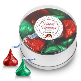 Personalized Happy Holidays Hershey's Kisses Small Plastic Tin