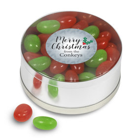 Personalized Merry Christmas Jelly Beans Small Plastic Tin