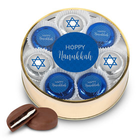 Happy Hanukkah Gold Extra-Large Plastic Tin with 16 Chocolate Covered Oreo Cookies