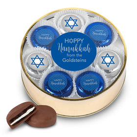 Personalized Happy Hanukkah Gold Extra-Large Plastic Tin with 16 Chocolate Covered Oreo Cookies