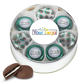 Personalized Add Your Logo' Merry Christmas Gold Extra-Large Plastic Tin with 16 Chocolate Covered Oreo Cookies