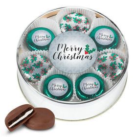 Merry Christmas Gold Extra-Large Plastic Tin with 16 Chocolate Covered Oreo Cookies