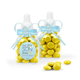 Personalized Boy Birth Announcement Favor Assembled Light Blue Baby Bottle with Just Candy Milk Chocolate Minis