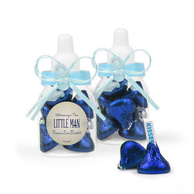 Personalized Boy Birth Announcement Favor Assembled Light Blue Baby Bottle with Hershey's Kisses