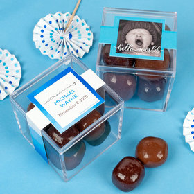 Personalized Boy Birth Announcement JUST CANDY® favor cube with Premium Milk & Dark Chocolate Sea Salt Caramels