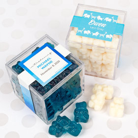 Personalized Boy Birth Announcement JUST CANDY® favor cube with Gummy Bears