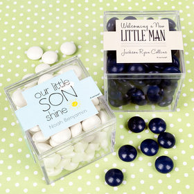 Personalized Boy Birth Announcement JUST CANDY® favor cube with Just Candy Milk Chocolate Minis