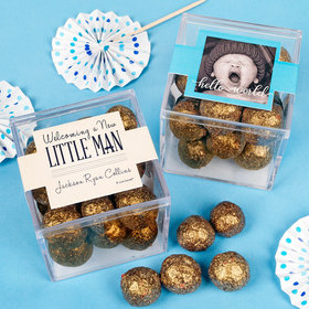Personalized Boy Birth Announcement JUST CANDY® favor cube with Premium Sparkling Prosecco Cordials - Dark Chocolate