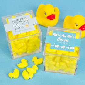 Personalized Boy Birth Announcement JUST CANDY® favor cube with Quackers Ducks