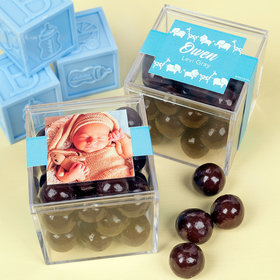 Personalized Boy Birth Announcement JUST CANDY® favor cube with Premium Rum Cordials - Dark Chocolate