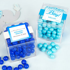 Personalized Boy Birth Announcement JUST CANDY® favor cube with Sixlets Chocolate
