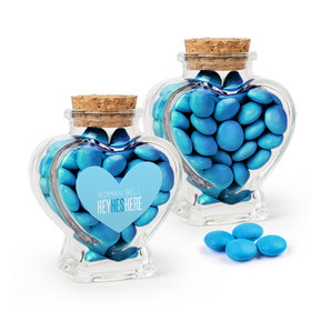 Personalized Boy Birth Announcement Favor Assembled Heart Jar with Just Candy Milk Chocolate Minis