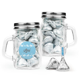 Personalized Boy Birth Announcement Favor Assembled Mini Mason Mug with Hershey's Kisses