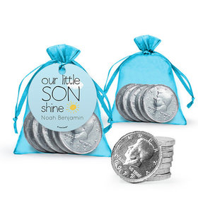 Personalized Boy Birth Announcement Favor Assembled Organza Bag, Gift tag with Milk Chocolate Coins