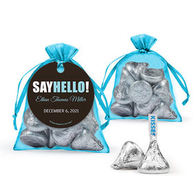 Personalized Boy Birth Announcement Favor Assembled Organza Bag with Hershey's Kisses