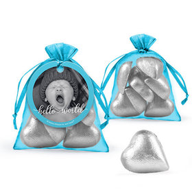 Personalized Boy Birth Announcement Favor Assembled Organza Bag with Milk Chocolate Hearts