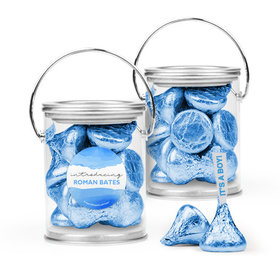 Personalized Boy Birth Announcement Favor Assembled Paint Can with Hershey's Kisses