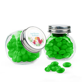 Personalized Boy Birth Announcement Favor Assembled Mini Side Jar with Just Candy Jelly Beans