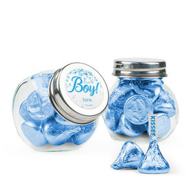 Personalized Boy Birth Announcement Favor Assembled Mini Side Jar with Hershey's Kisses