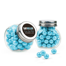 Personalized Boy Birth Announcement Favor Assembled Mini Side Jar with Sixlets