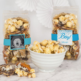 Personalized Baby Boy Birth Announcement Trendy Trash Popcorn 8 oz Bags