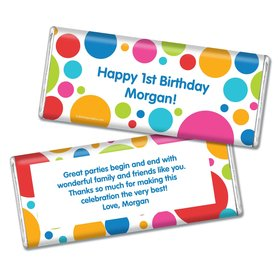 Birthday Polka Dot Party Personalized Chocolate Bar & Wrapper