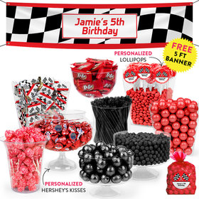 Personalized Kids Birthday Racing Themed Deluxe Candy Buffet
