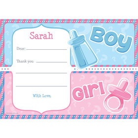 Gender Reveal Personalized Thank You Note