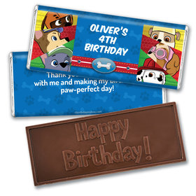 Personalized Birthday Paw Command Embossed Chocolate Bar & Wrapper