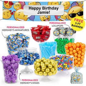 Personalized Kids Birthday Emojis Themed Deluxe Candy Buffet