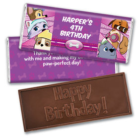Personalized Birthday Paw Command Pink Embossed Chocolate Bar & Wrapper