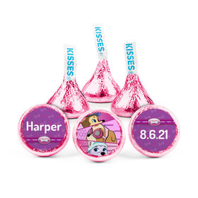 Personalized Birthday Paw Command Pink Hershey's Kisses (50 pack)