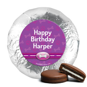 Personalized Birthday Paw Command Pink Milk Chocolate Covered Foil Oreos