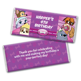 Personalized Birthday Paw Command Pink Chocolate Bar & Wrapper