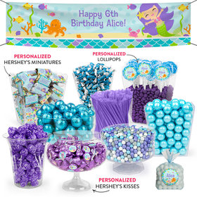 Personalized Kids Birthday Mermaid Friends Deluxe Candy Buffet