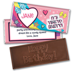 Personalized Birthday Party Bows Embossed Chocolate Bar & Wrapper
