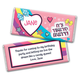 Personalized Birthday Party Bows Chocolate Bar & Wrapper