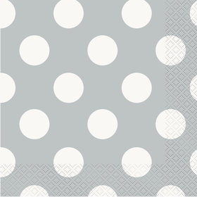 Silver Dots Lunch Napkins (16 Count)