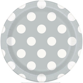 "Silver Dots 7"" Plates (8 Count)"